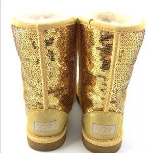 UGG AUSTRALIA Sparkles Boots Short SEQUIN GOLD